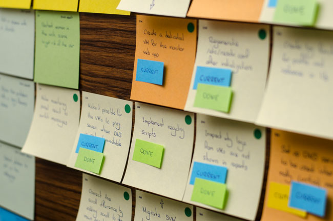 Showing a few post-its on the board